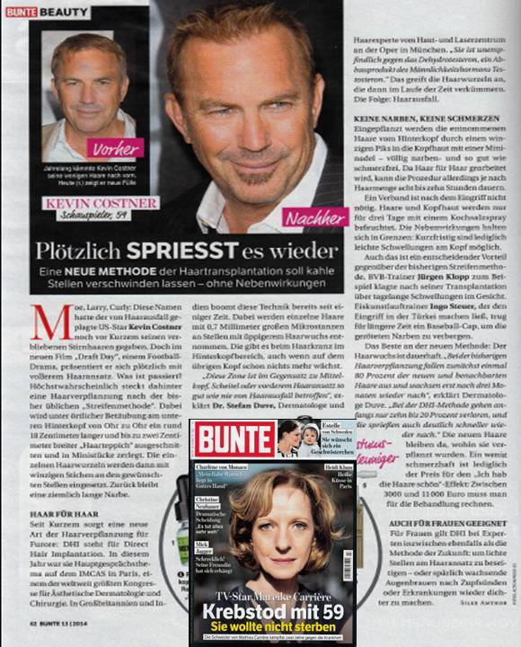 DHI in famous German weekly Bunte Magazine