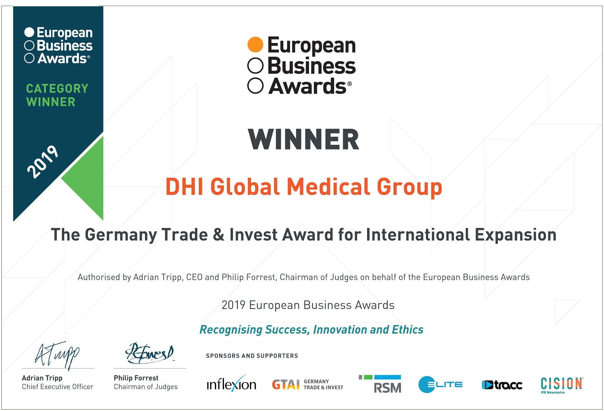 DHI Global Medical Group Wins The International Expansion Award At The European Business Awards 2019!